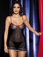 Košilka Obsessive Showgirl chemise - černá - S/M