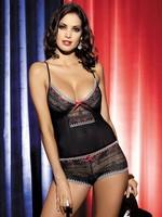 Souprava Obsessive Showgirl top + shorts - černá - L/XL